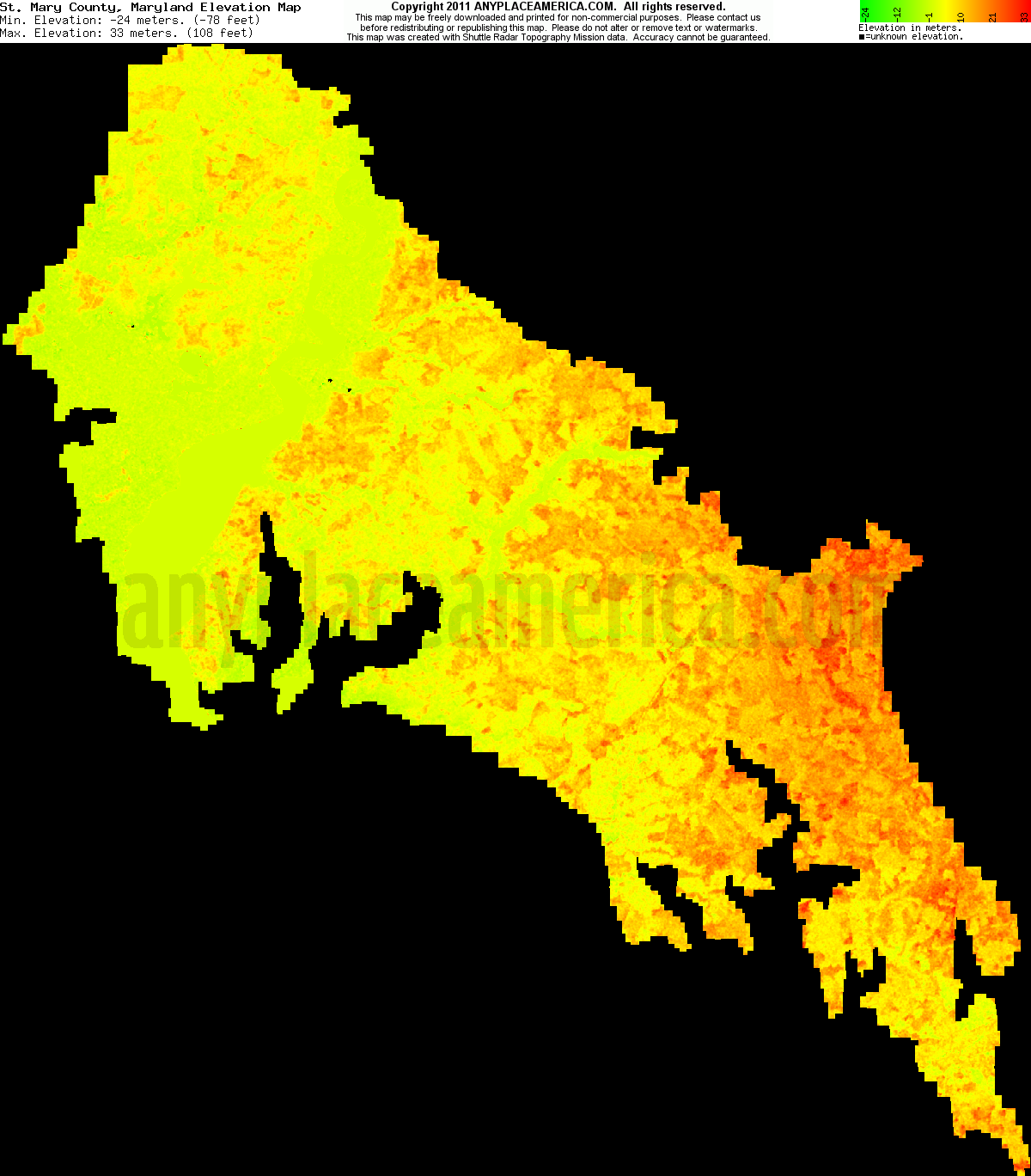 Free St Mary S County Maryland Topo Maps Elevations