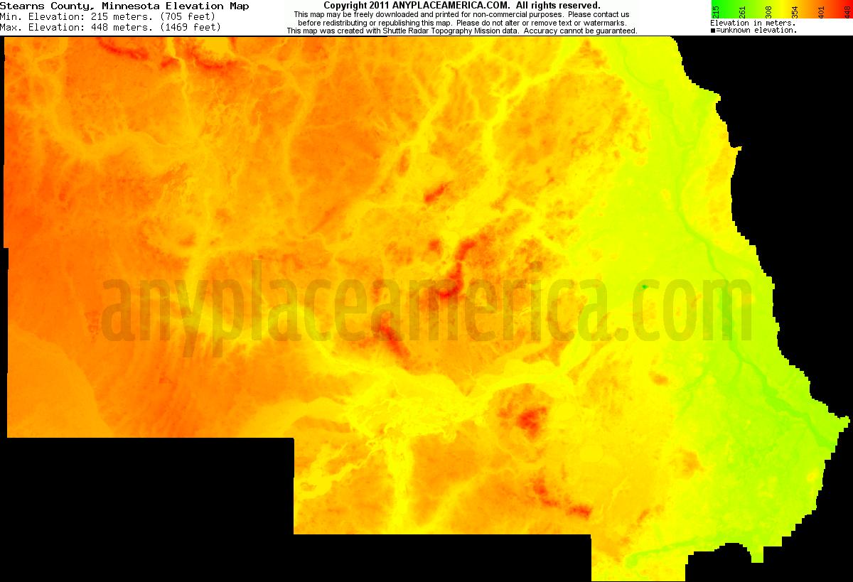 Free Stearns County Minnesota Topo Maps Elevations