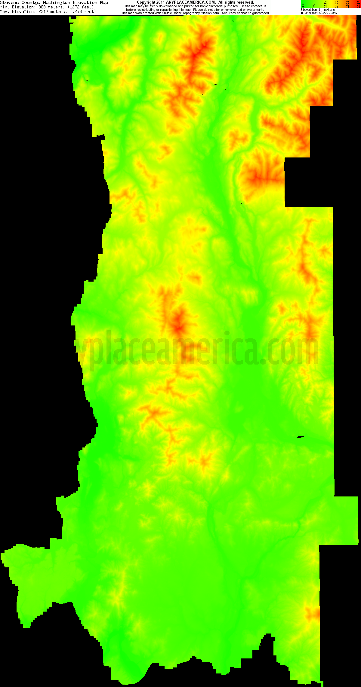 Stevens, Washington elevation map