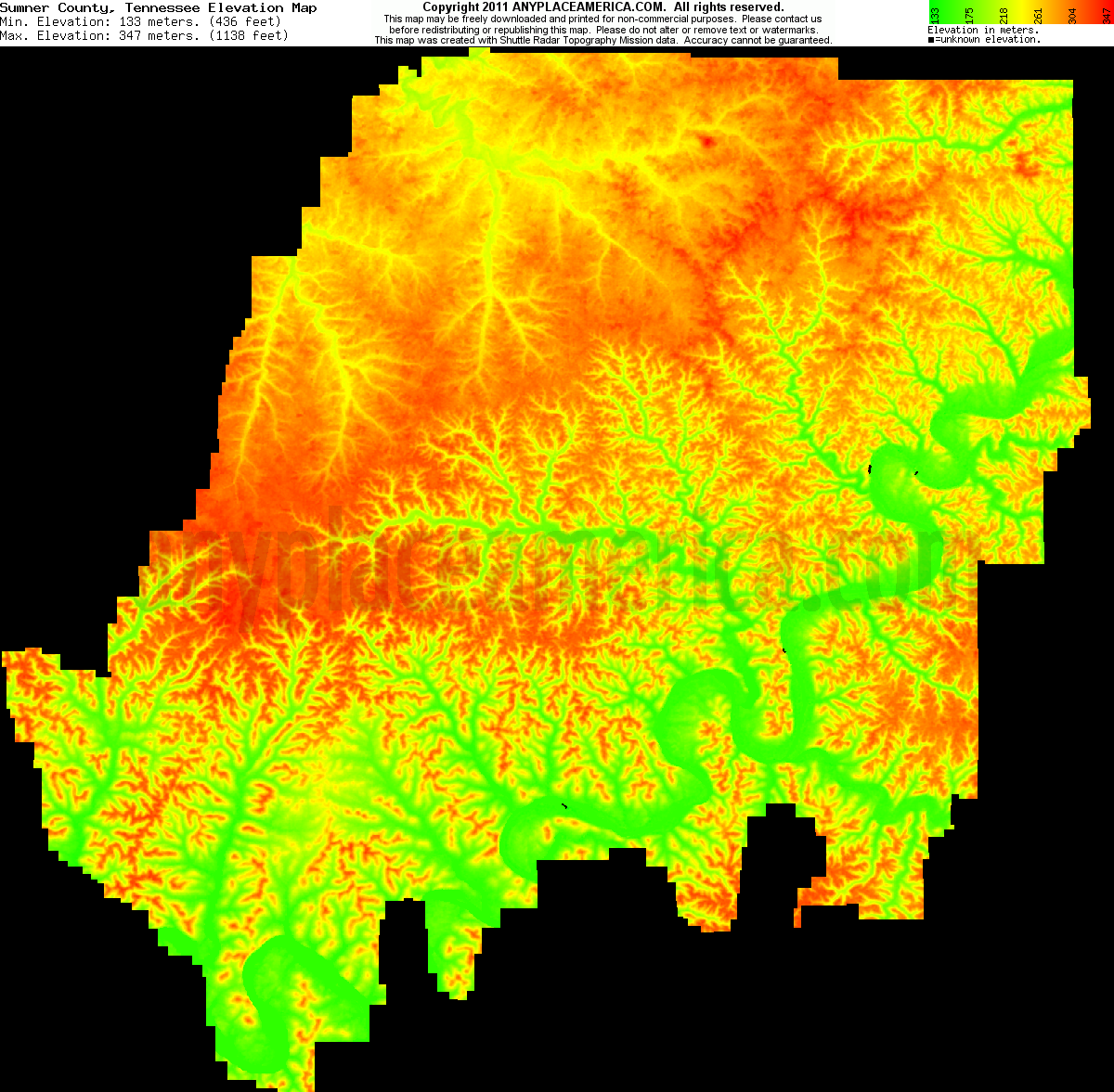 Free Sumner County Tennessee Topo Maps Elevations - Elevation map of the us
