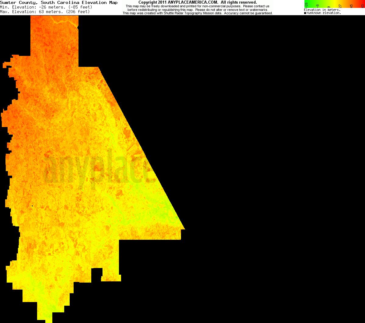 Free Sumter County, South Carolina Topo Maps & Elevations
