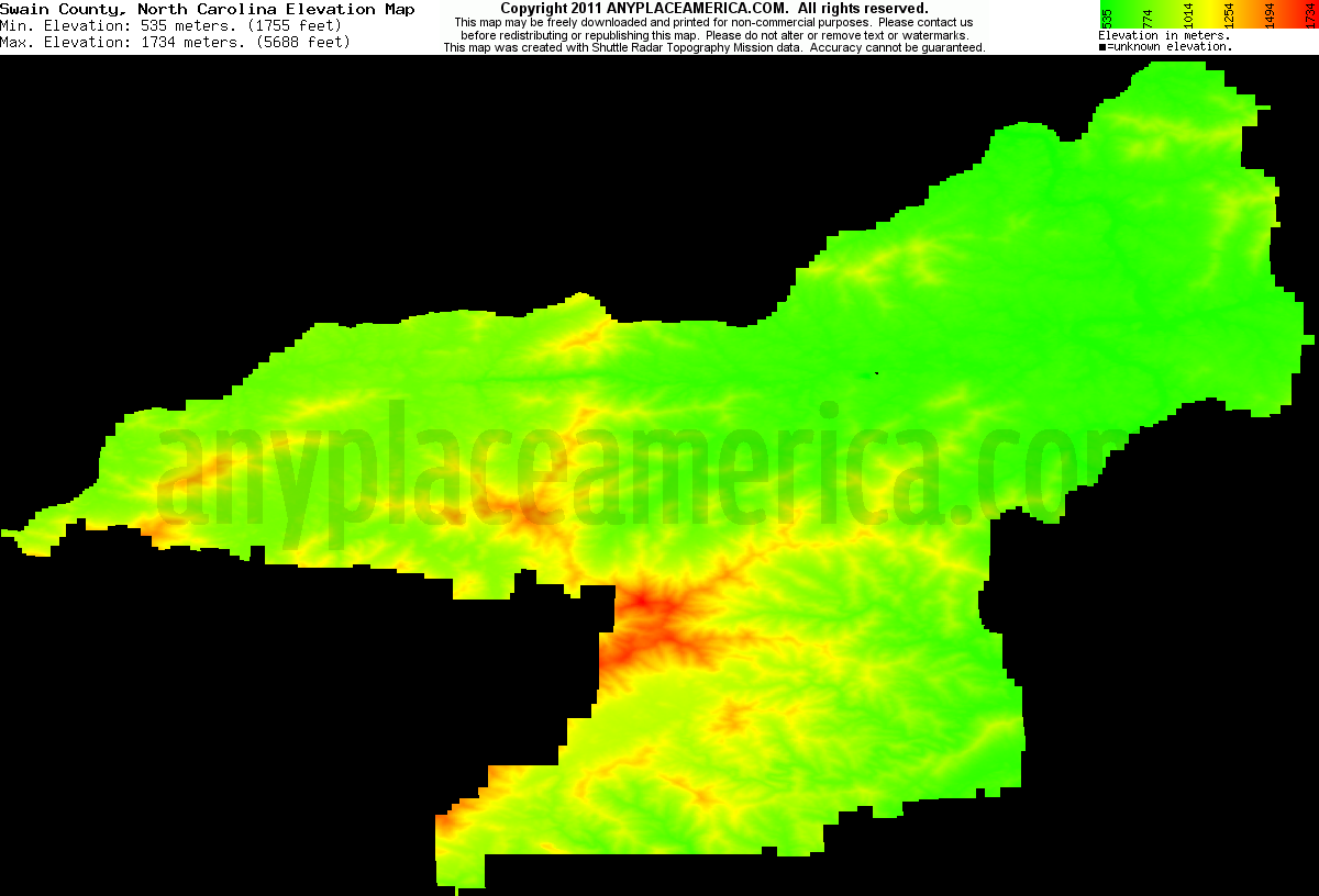 Download Swain County Elevation Map