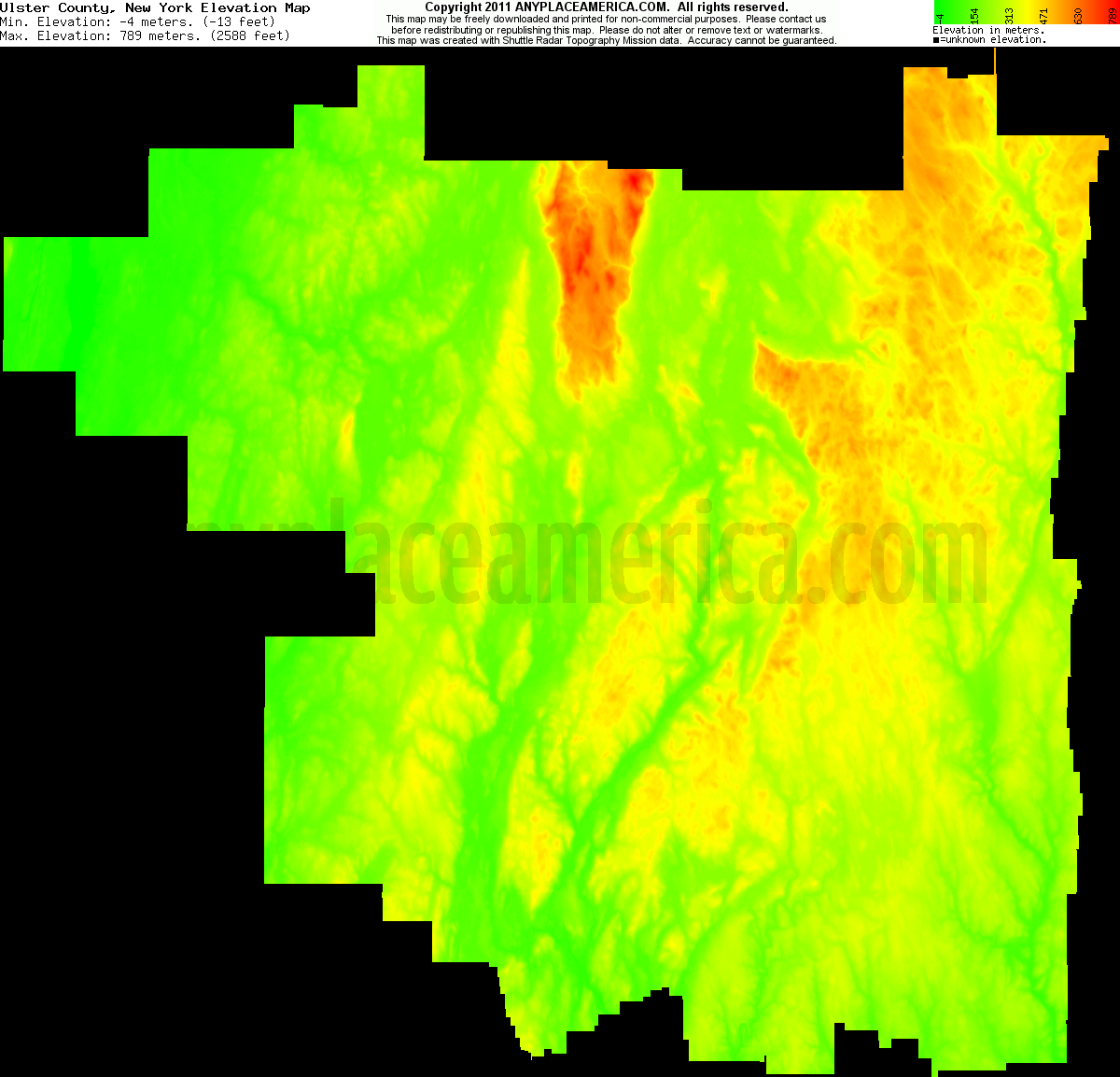 Ulster, New York elevation map