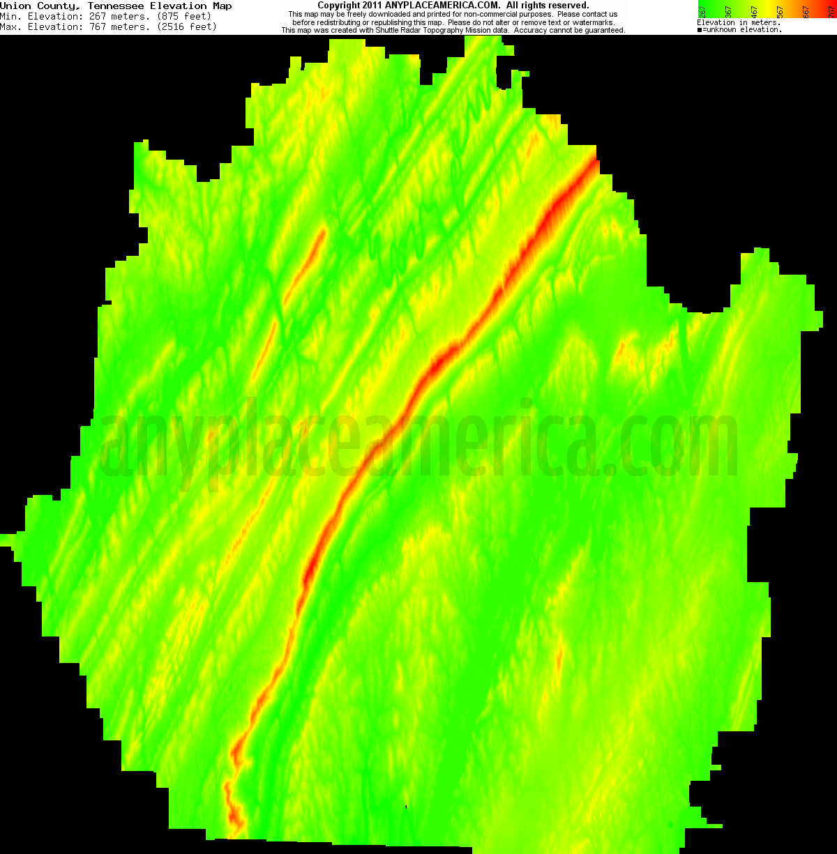 download union county elevation map