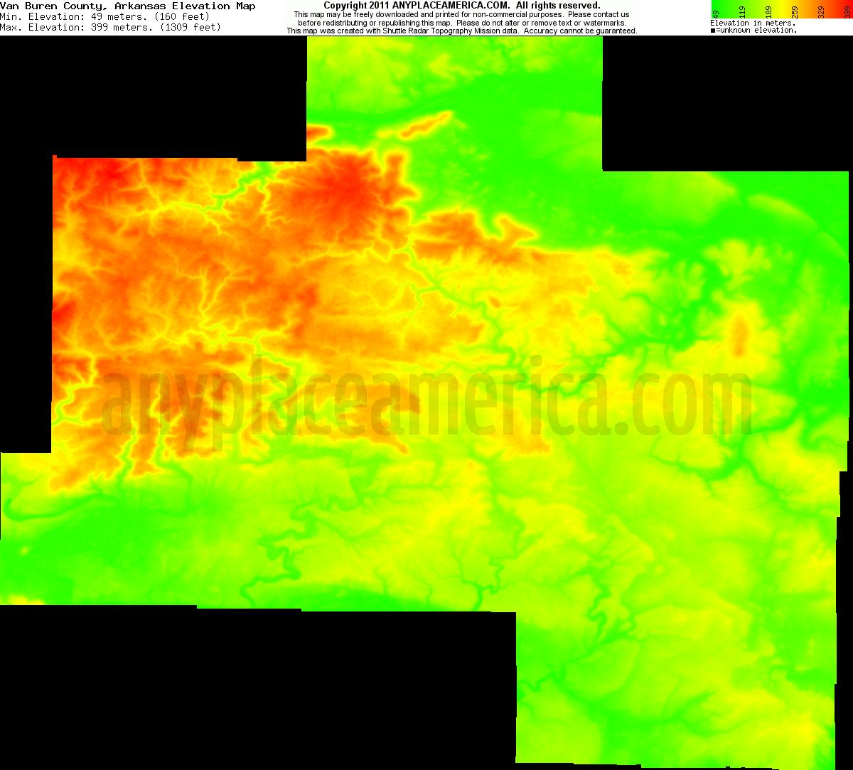 Elevation Of Washington County Ar Usa: Free Van Buren County, Arkansas Topo Maps & Elevations