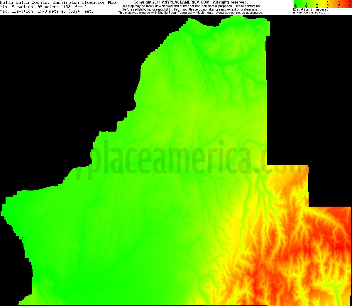 Elevation Of Washington County Ar Usa: Free Walla Walla County, Washington Topo Maps & Elevations