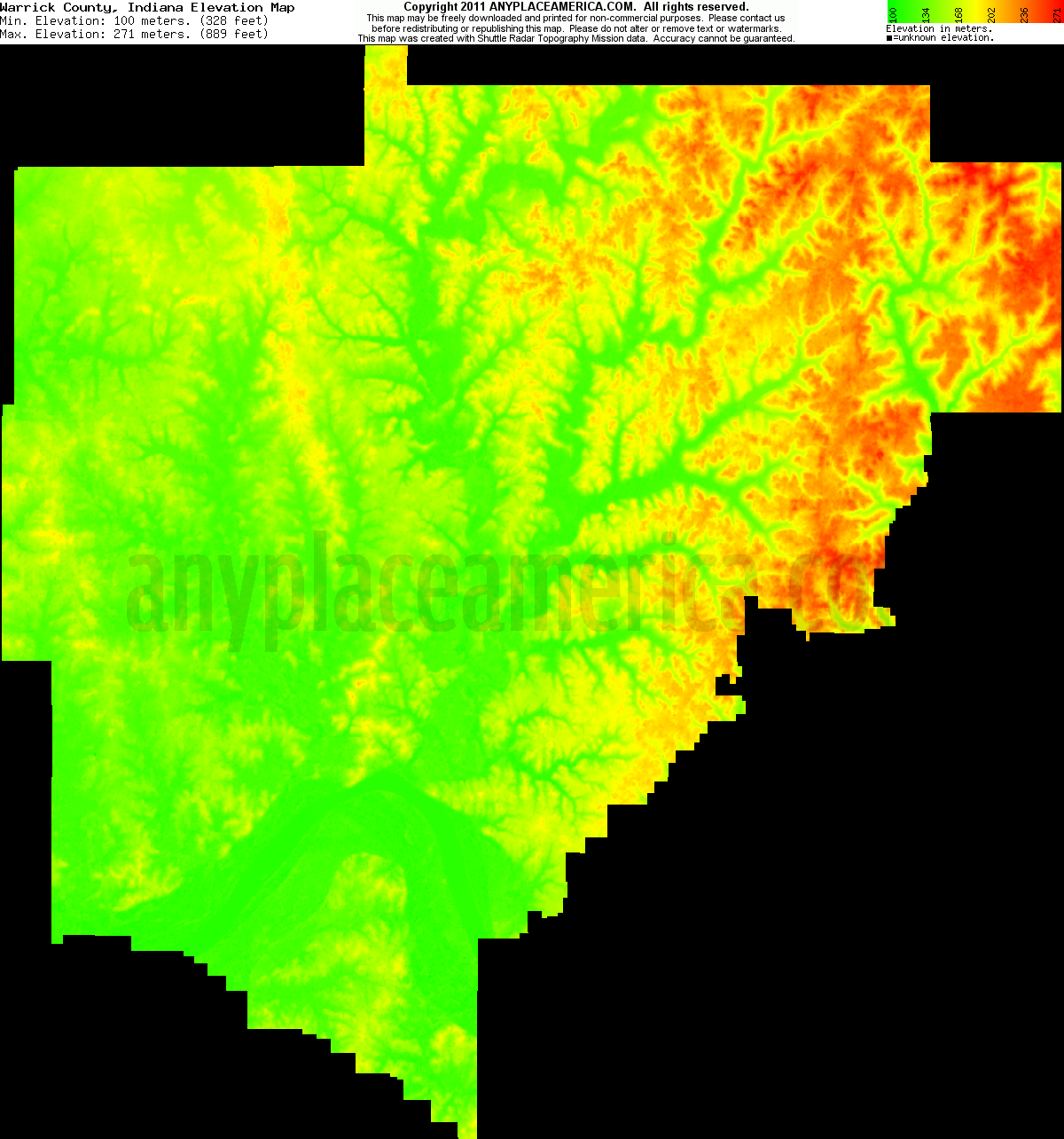 Free Warrick County Indiana Topo Maps Elevations - Elevation map us