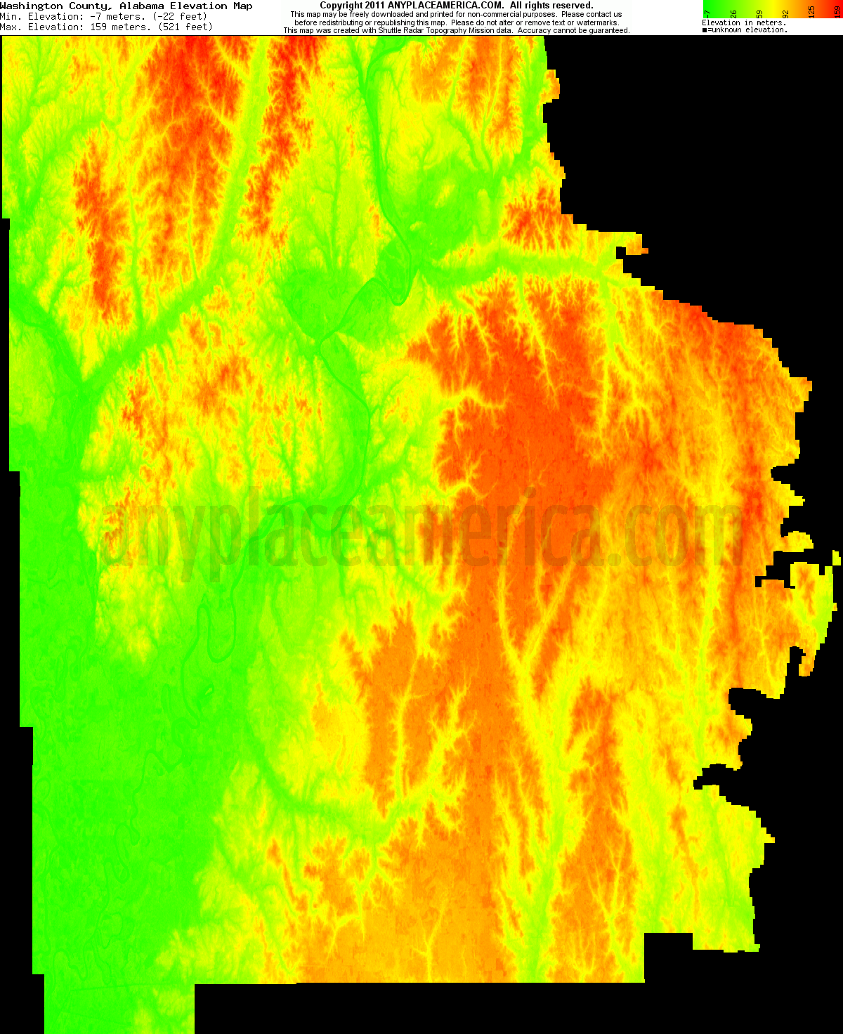 Alabama washington county wagarville - Download Washington County Elevation Map