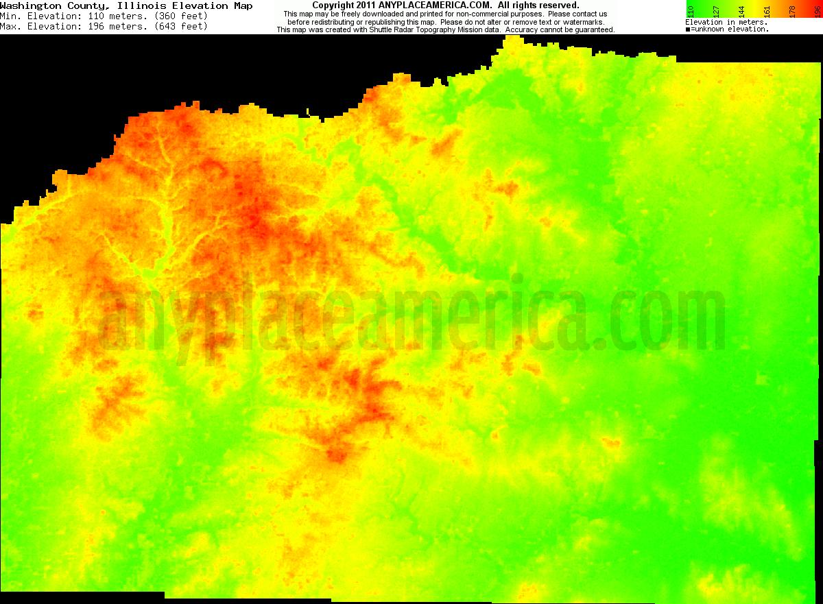 Illinois washington county addieville - Download Washington County Elevation Map