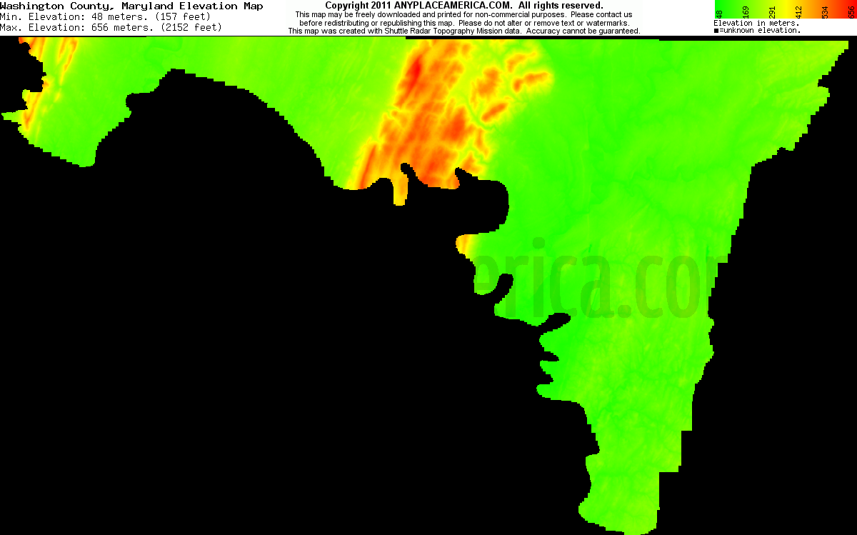 Washington, Maryland elevation map