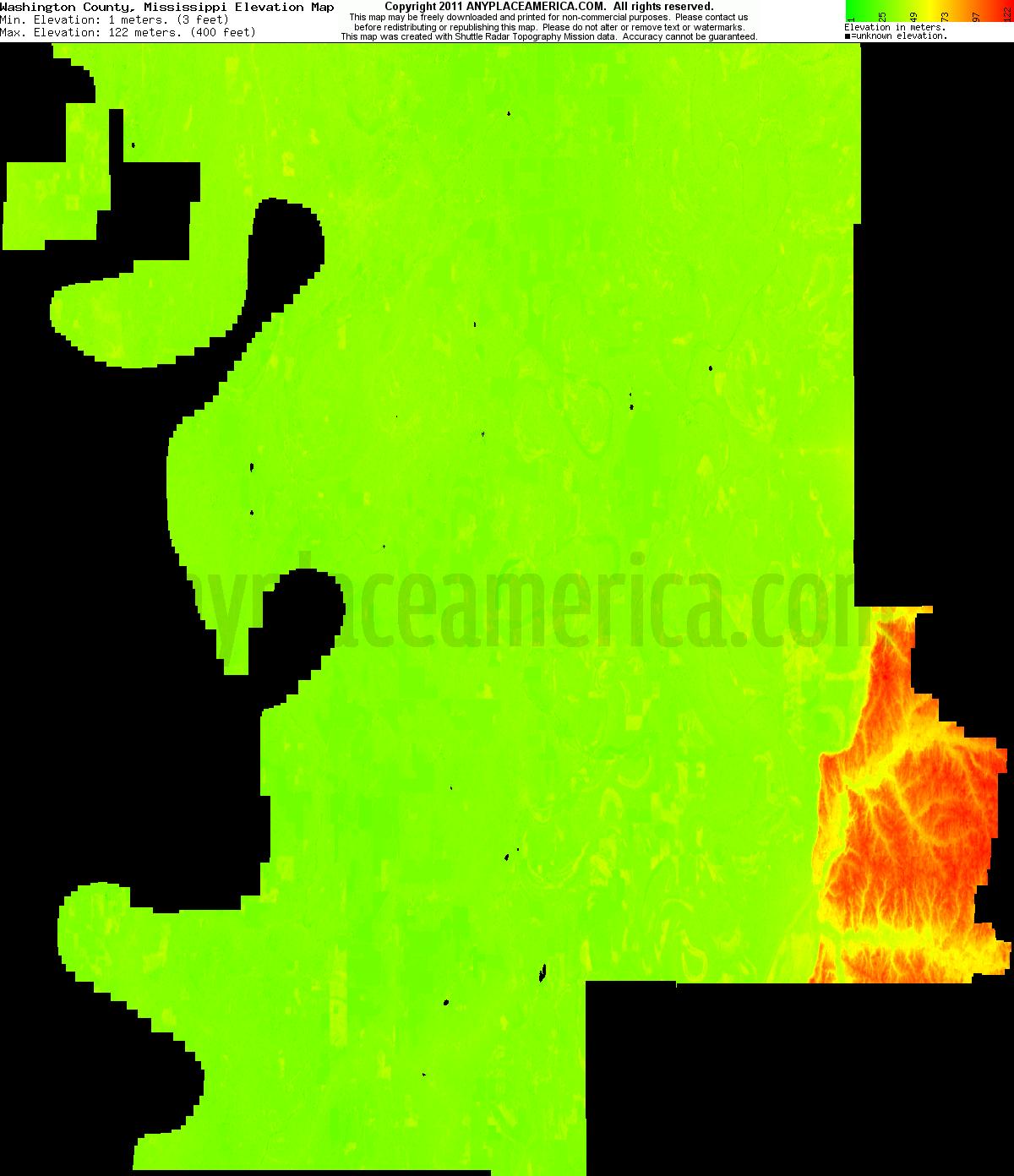 Mississippi washington county hollandale - Download Washington County Elevation Map