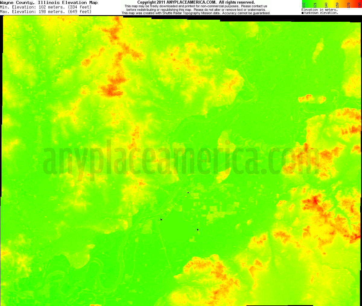 Illinois wayne county johnsonville - Download Wayne County Elevation Map