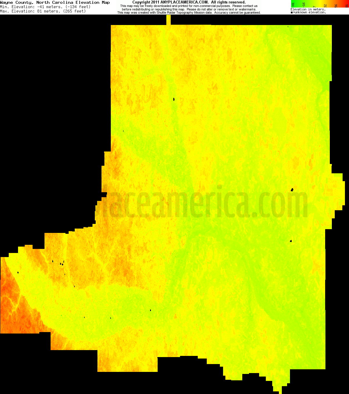 Free Wayne County North Carolina Topo Maps Elevations