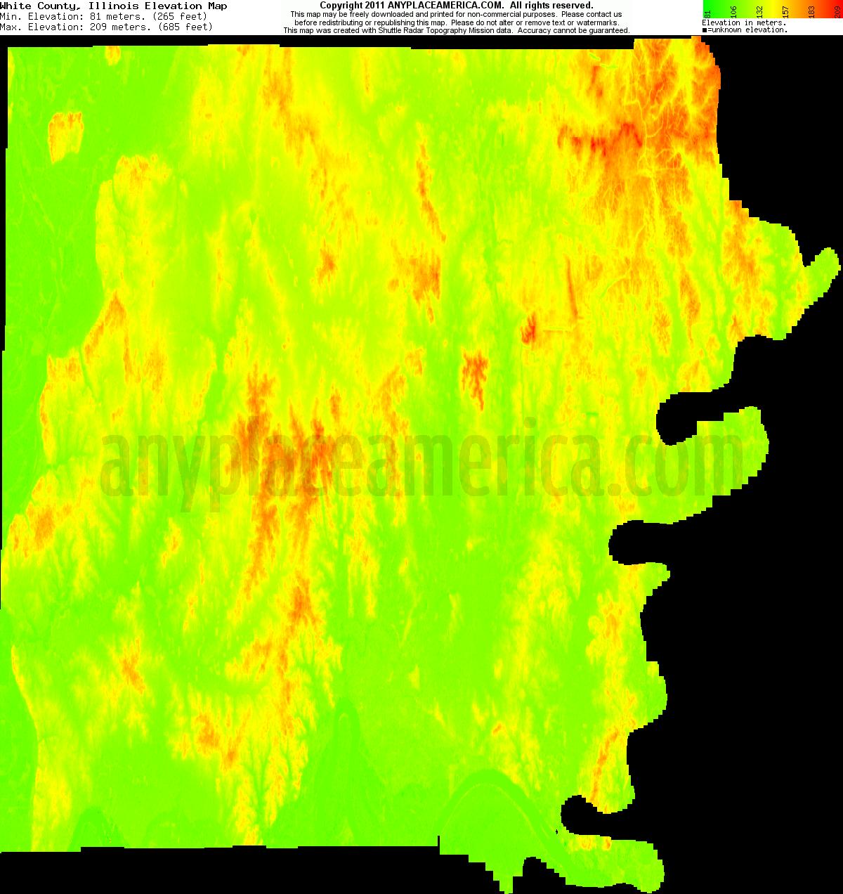 White, Illinois elevation map