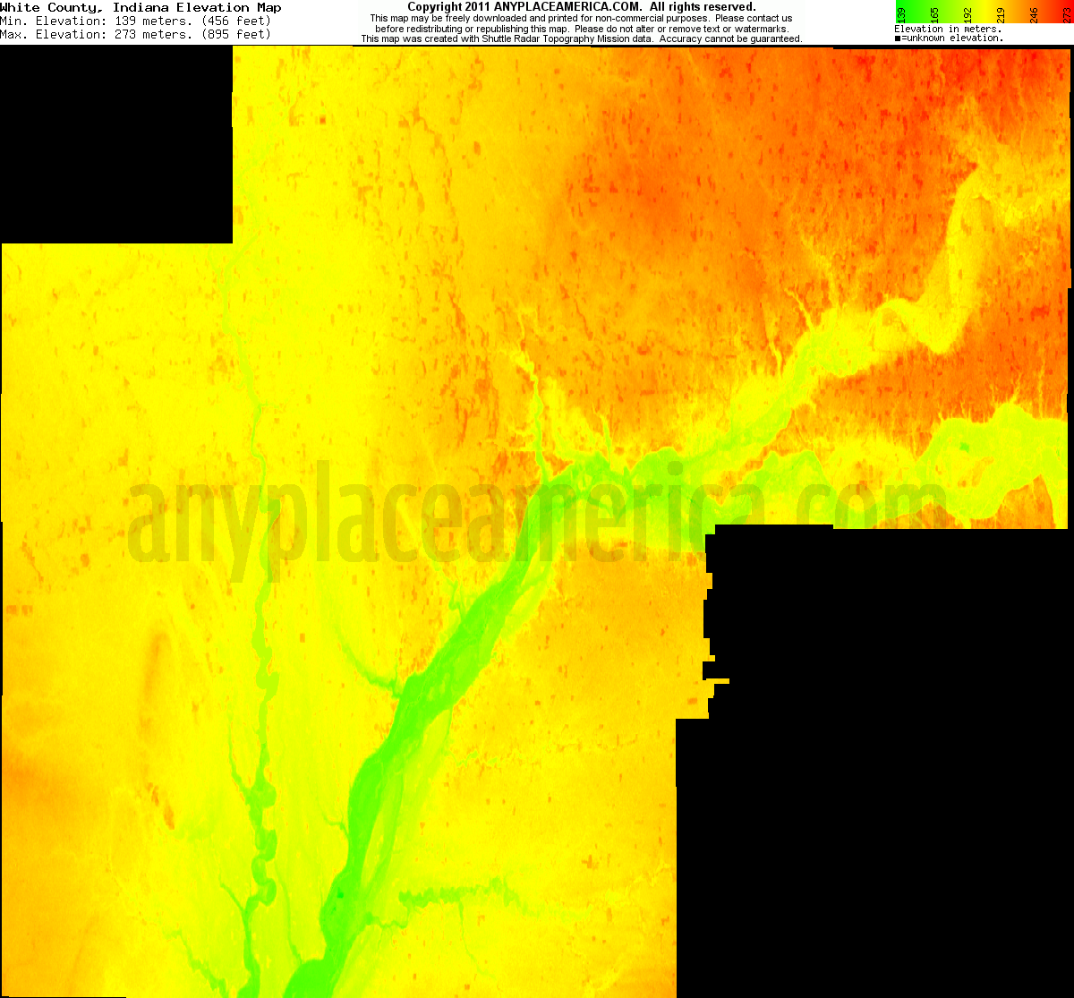 Indiana white county idaville - Download White County Elevation Map