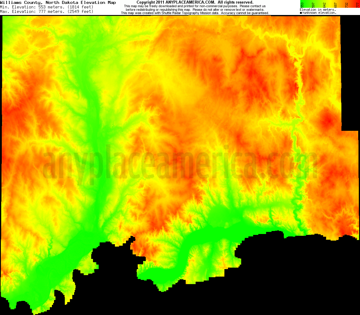 Download Williams County Elevation Map