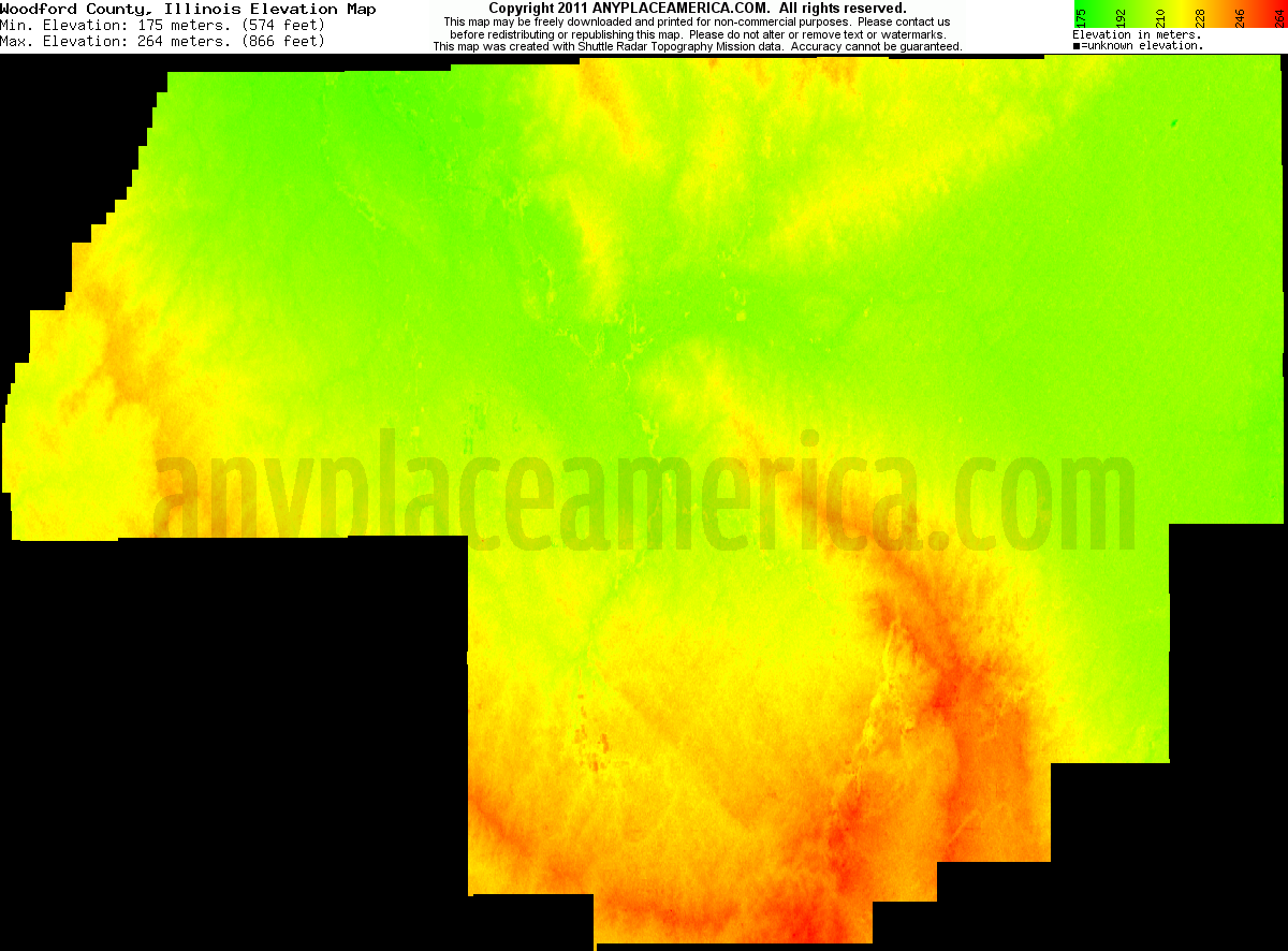 Illinois woodford county secor - Download Woodford County Elevation Map