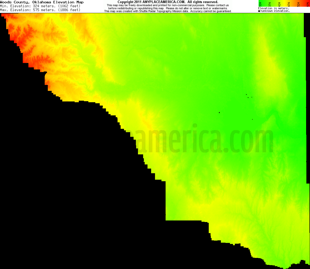 Wood Elevation Maps : Free woods county oklahoma topo maps elevations