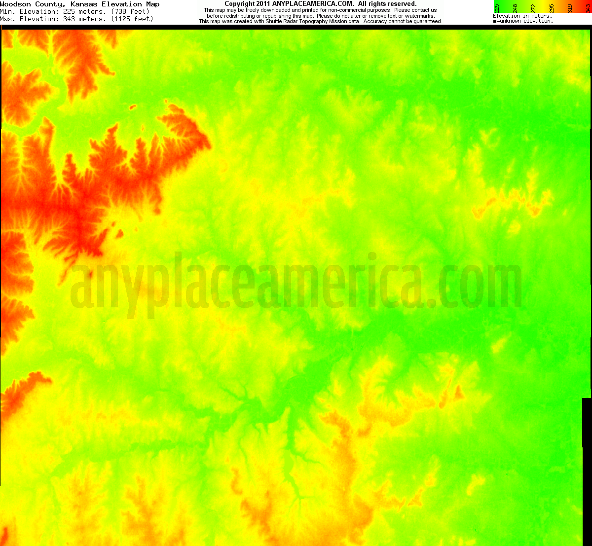 Kansas woodson county piqua - Download Woodson County Elevation Map
