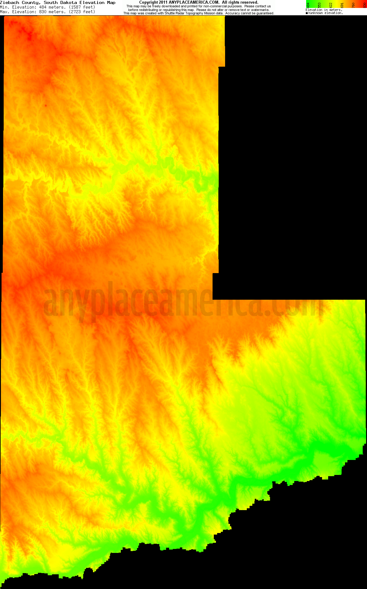 Ziebach, South Dakota elevation map