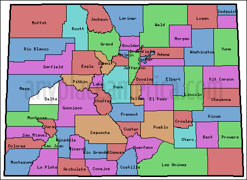 Colorado counties map