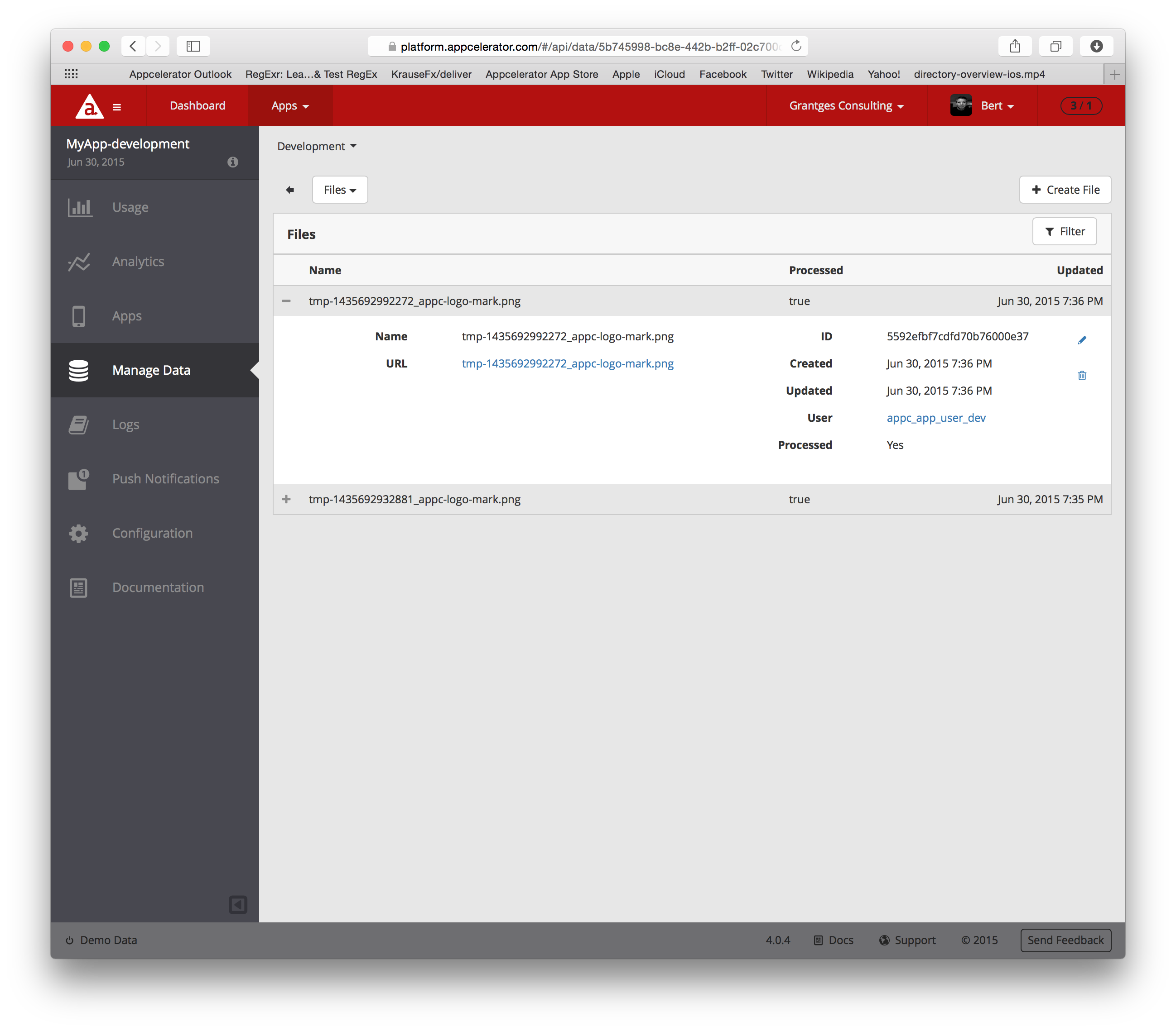 Appcelerator Dashboard Files View