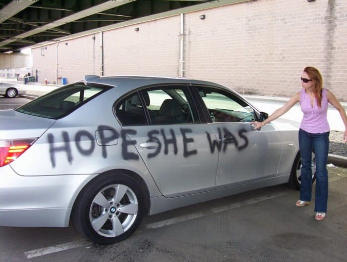Car Getting Graffitied