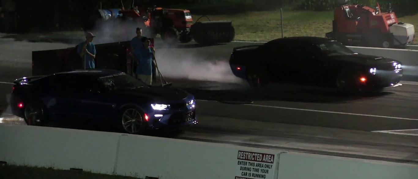 Hellcat vs Camaro drag race