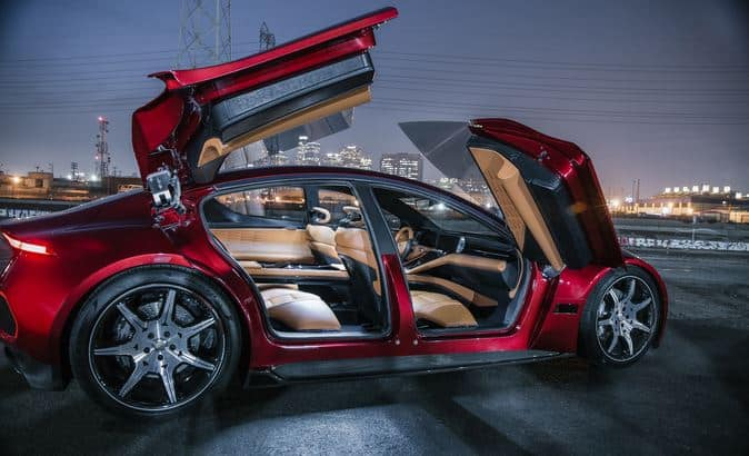 Fisker eMotion with doors open is one of many exciting future electric car