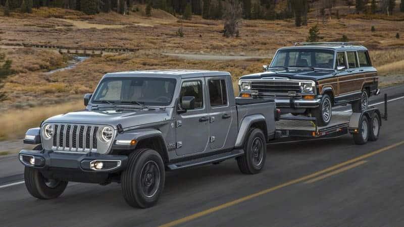 2020 Jeep Gladiator towing the SJ Grand Wagoneer
