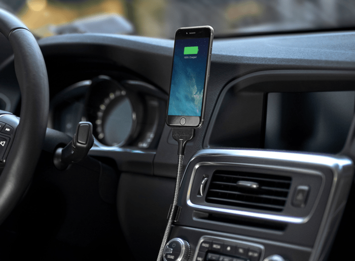 Car Phone Mount being used to charge smartphone