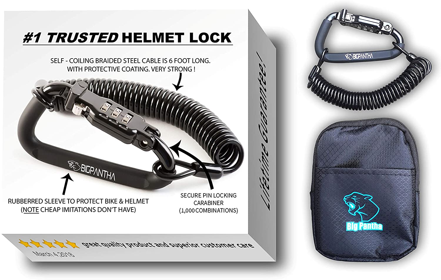 motorcycle helmet lock and cable
