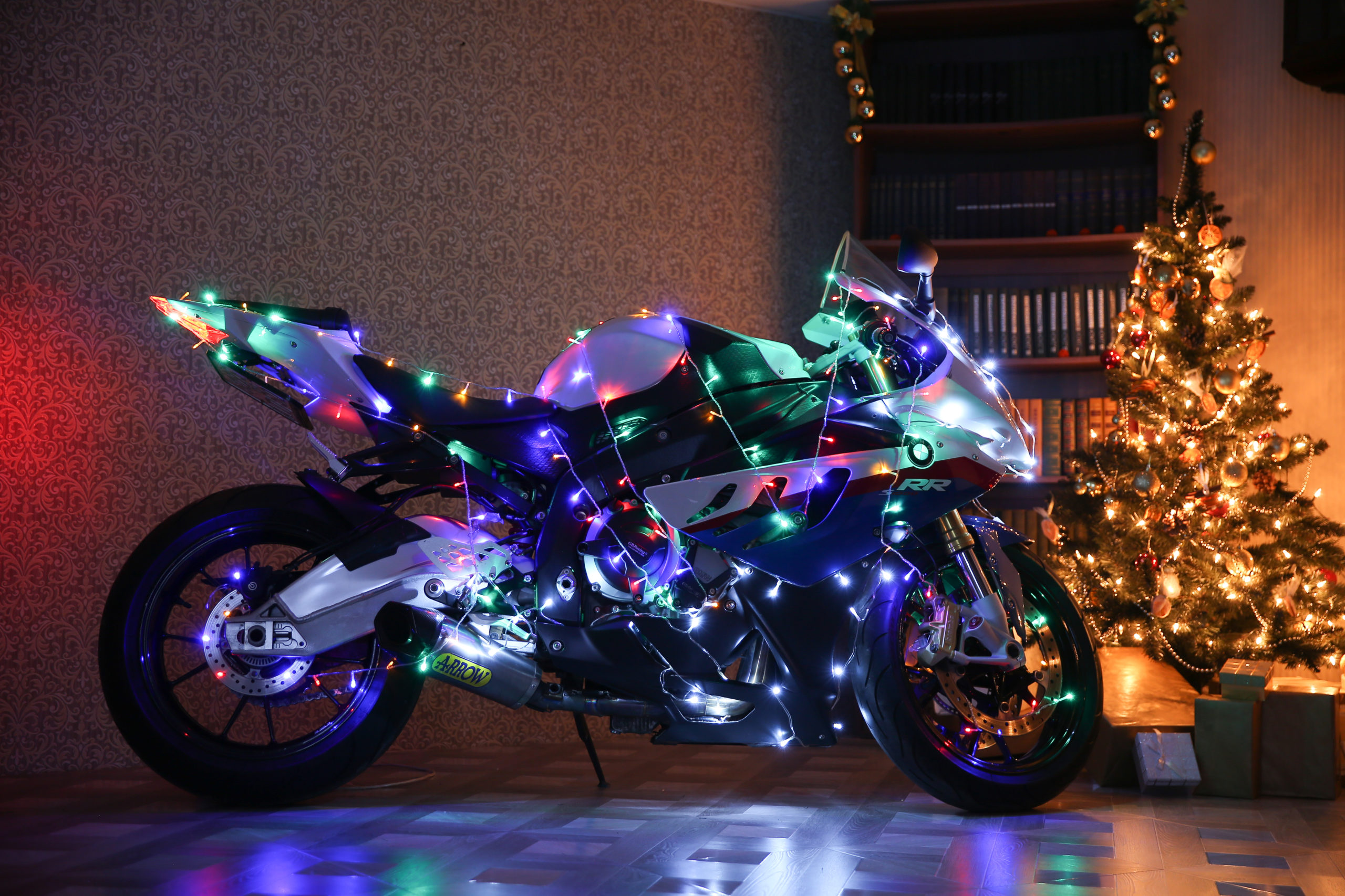 Motorcycle by Christmas tree