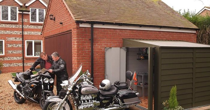 Parking in a motorcycle shed
