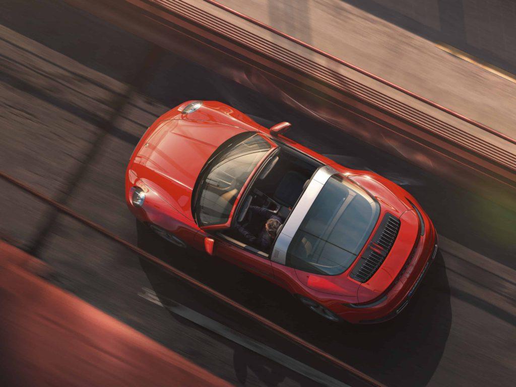 2021 Porsche 911 Targa 4 red top view