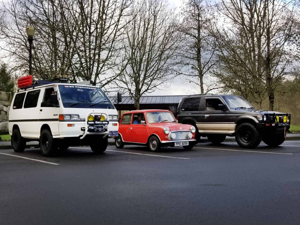 Right-hand-drive trio, Austin Mini, Mitsubishi Delica and Pajero