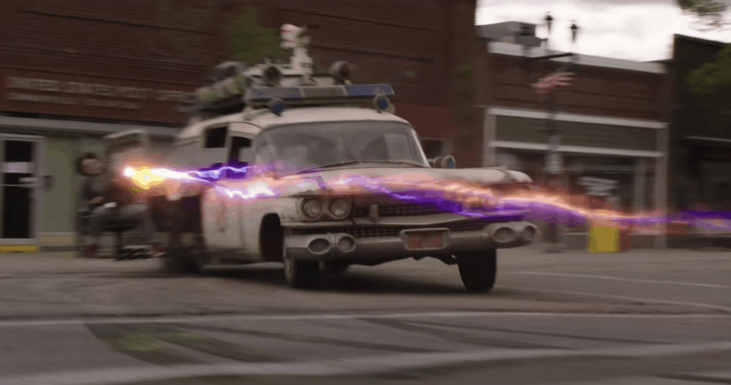 Ghostbusters Ecto 1 Afterlife movie scene
