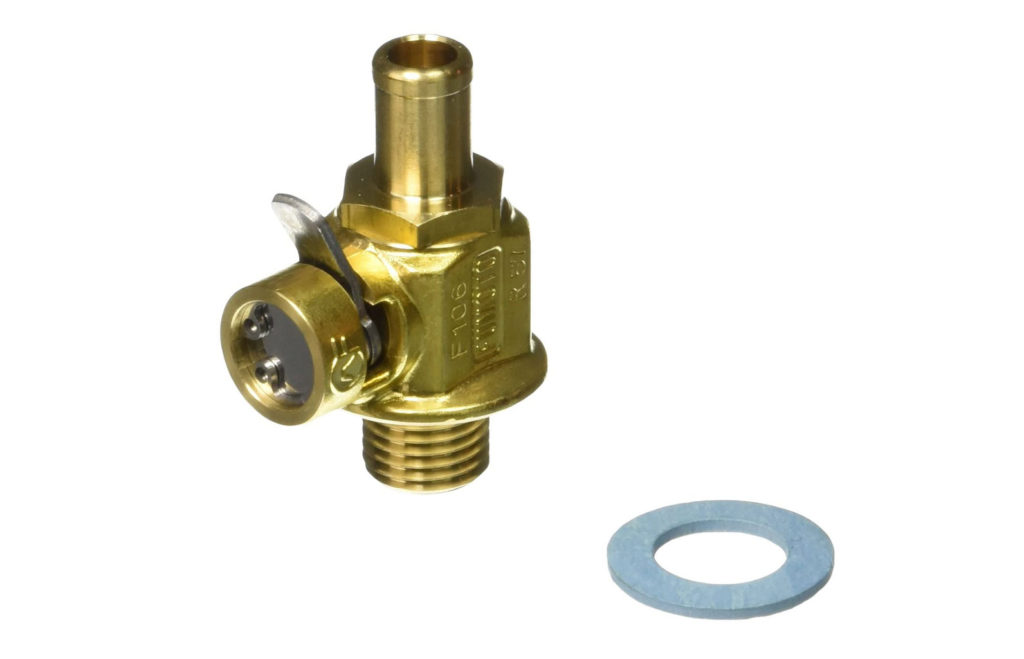 Fumoto valve with washer