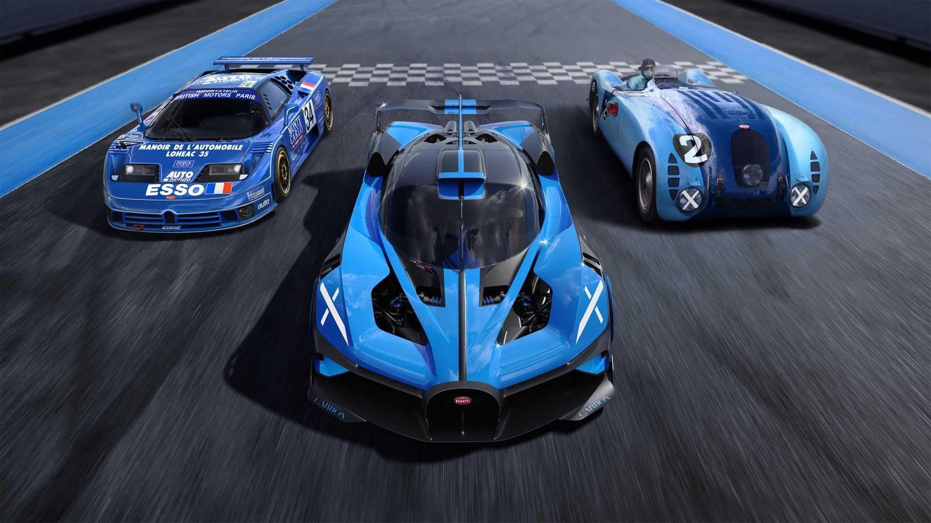 Bugatti Bolide with old Bugatti race cars