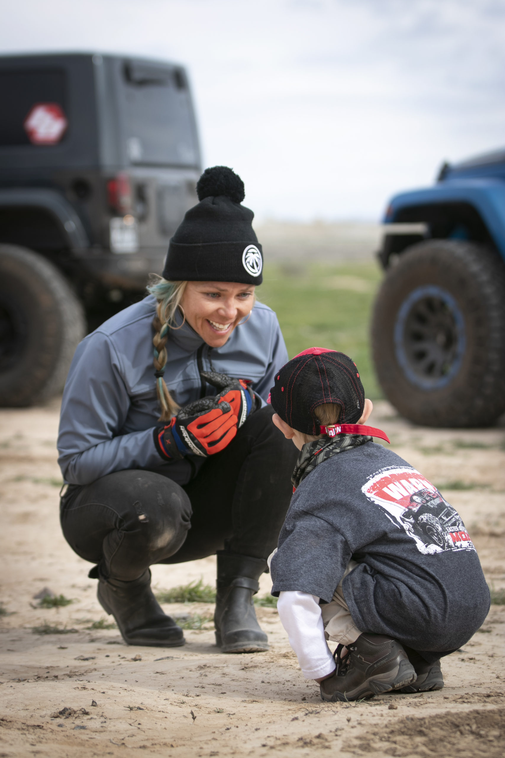 Jessi Combs, EJS 2019 with boy