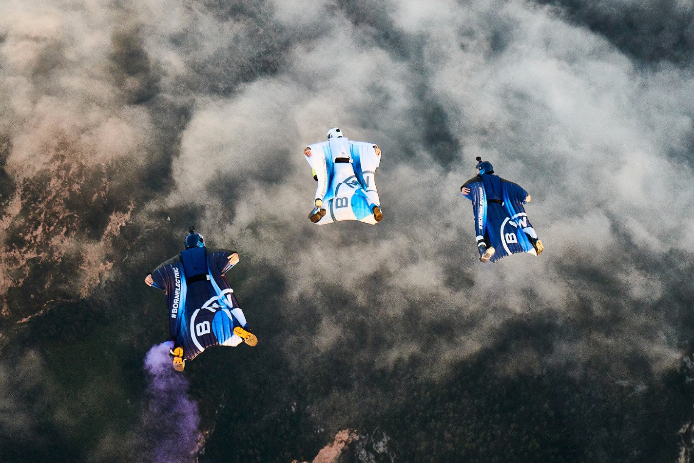 BMW Electric Wingsuit formation flying