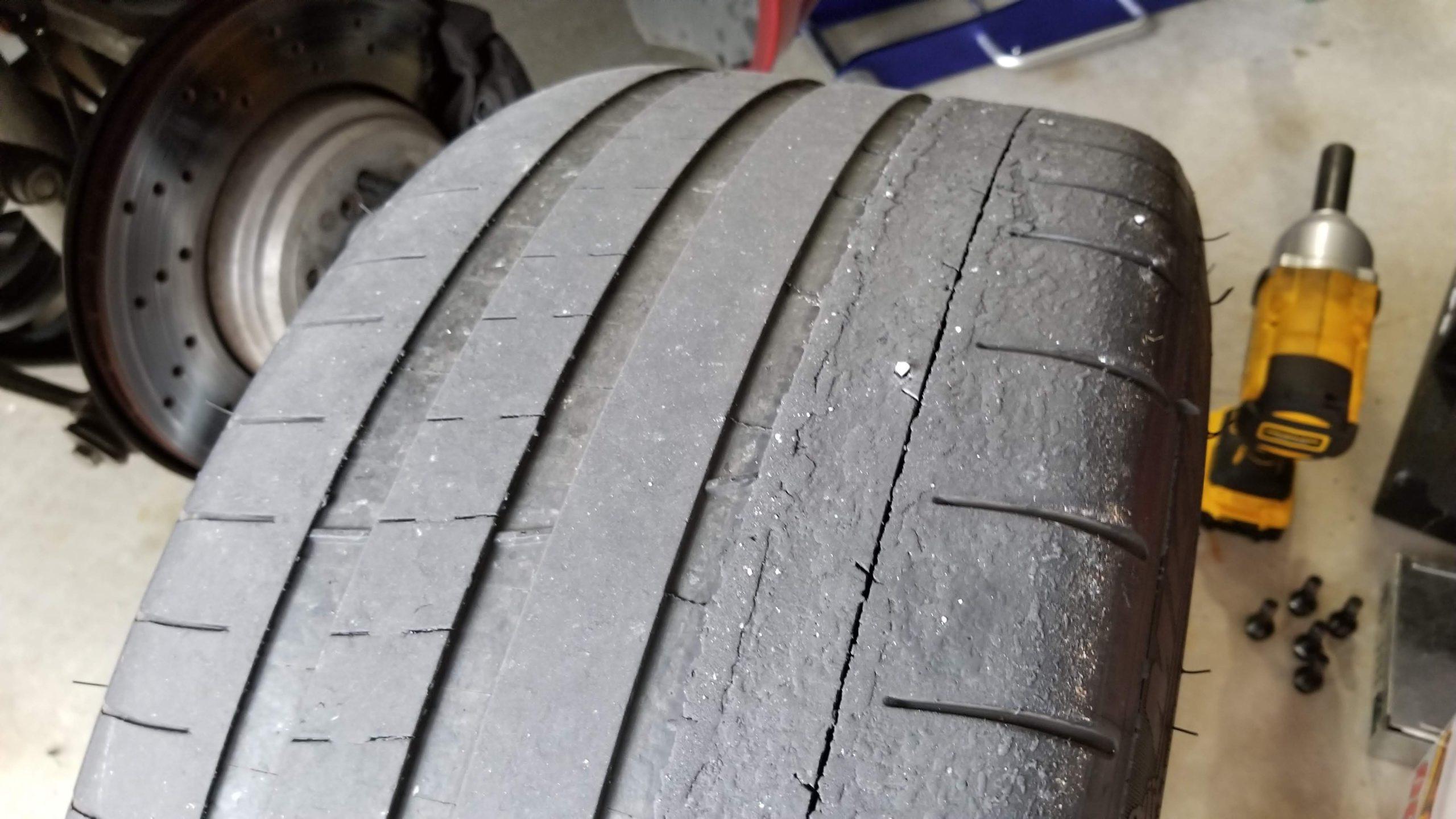 Track days worn tire