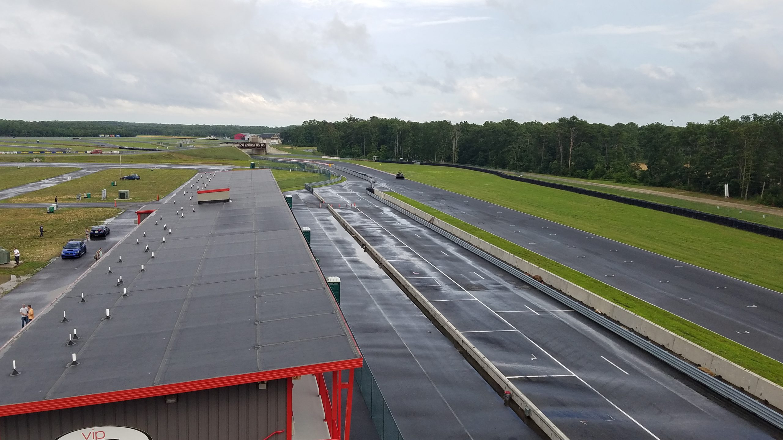 Aerial view of wet race track for track days