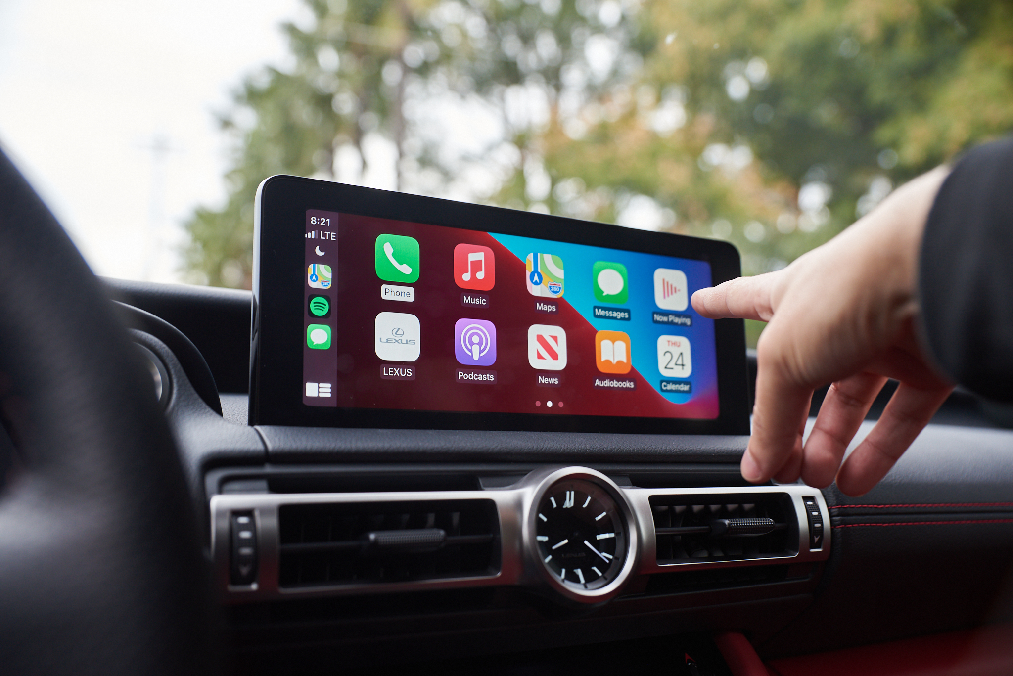 Touchscreen display with Apple CarPlay inside the 2021 Lexus IS