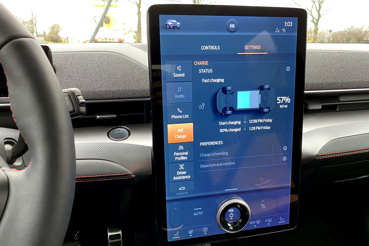 Ford Mustang Mach-E charging screen