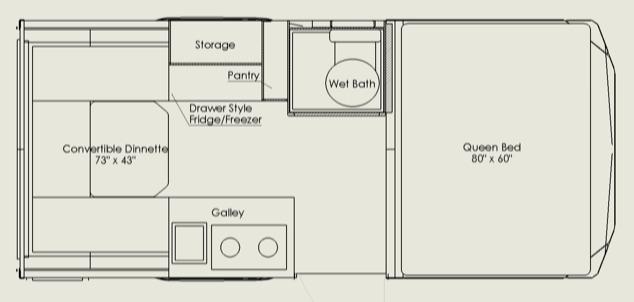 TruckHouse BCT Tacoma Overland Camper floorplan