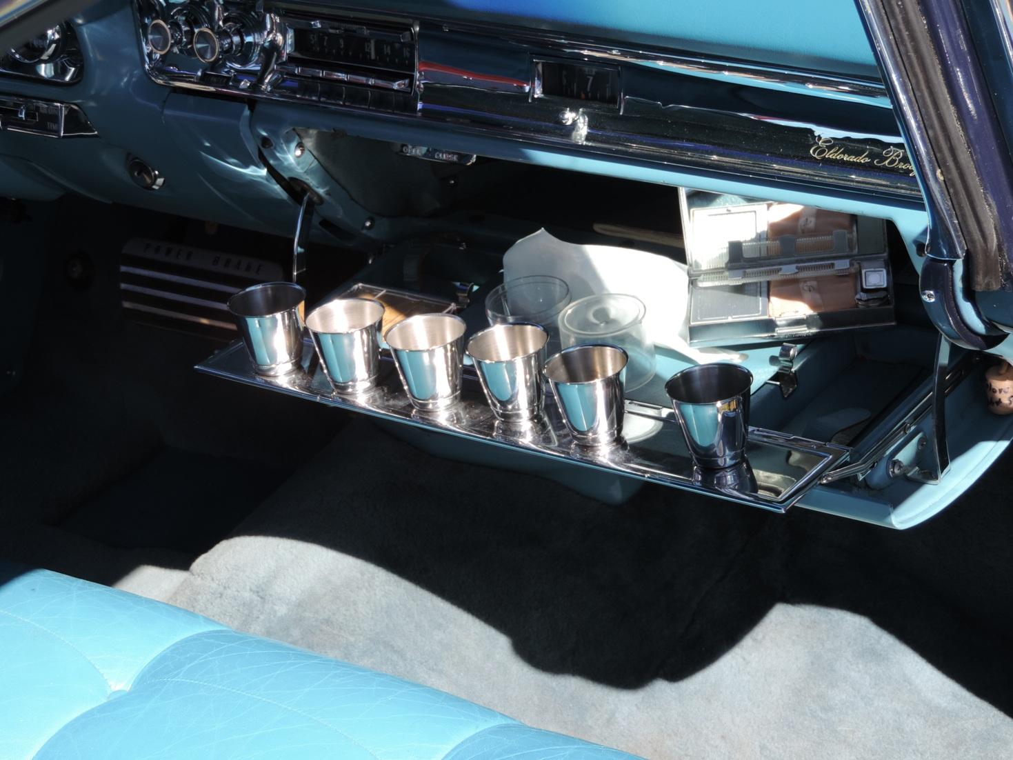 1957 Cadillac Eldorado Brougham tumblers in glove box