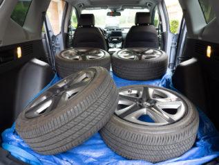Michelin tires loaded in back of 2021 Honda CR-V