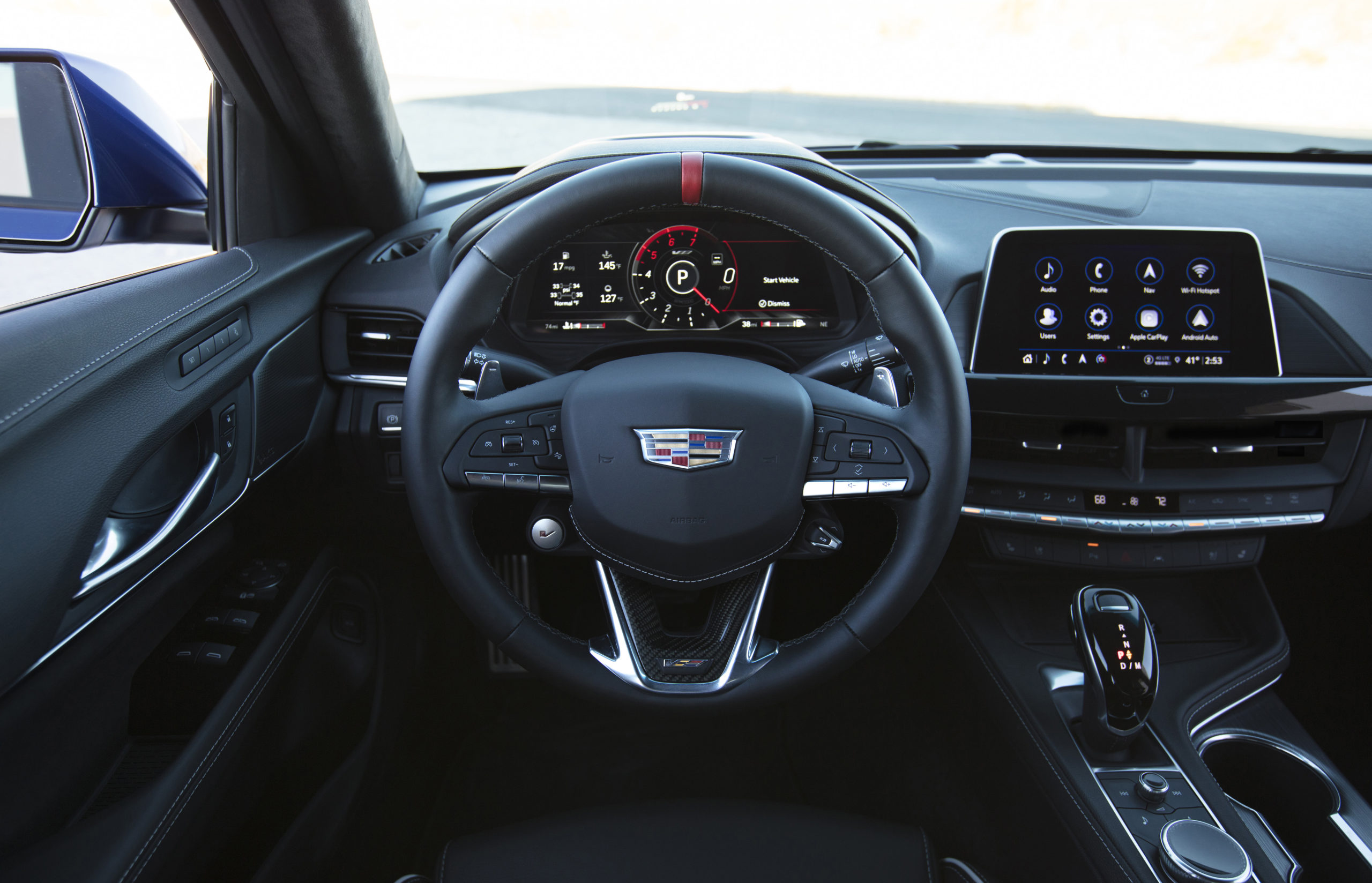 2022 Cadillac CT4-V Blackwing steering wheel and dashboard