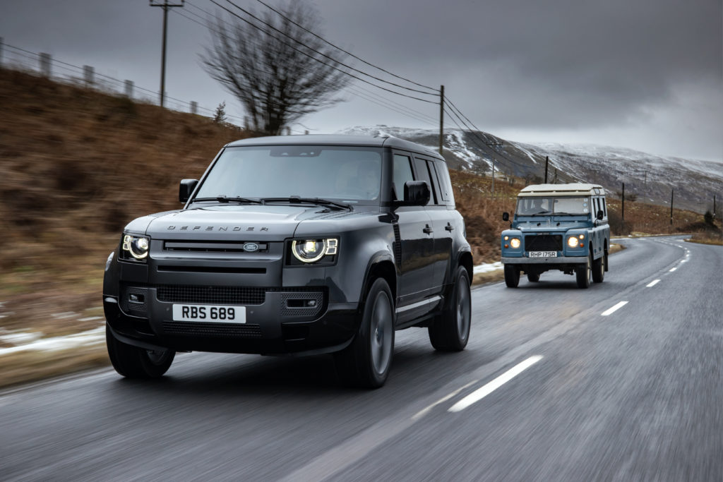 2022 Land Rover Defender 110 Supercharged V8 followed by Classic Defender 110 V8